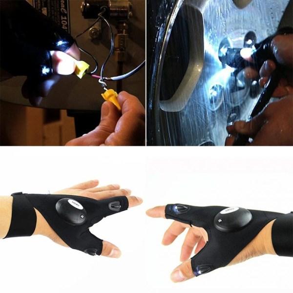 Handsker med lommelygte Black Vänster hand