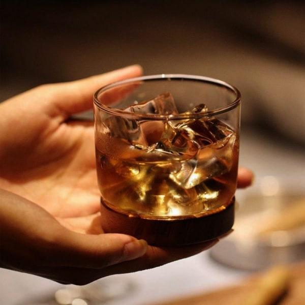 Whiskyglas med Underlag i Træ Transparent