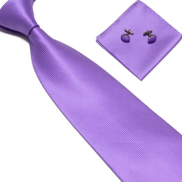 Pukutarvikkeet | Solmio + Nenäliina + Kalvosinnapit - Vaaleanvio Light purple one size