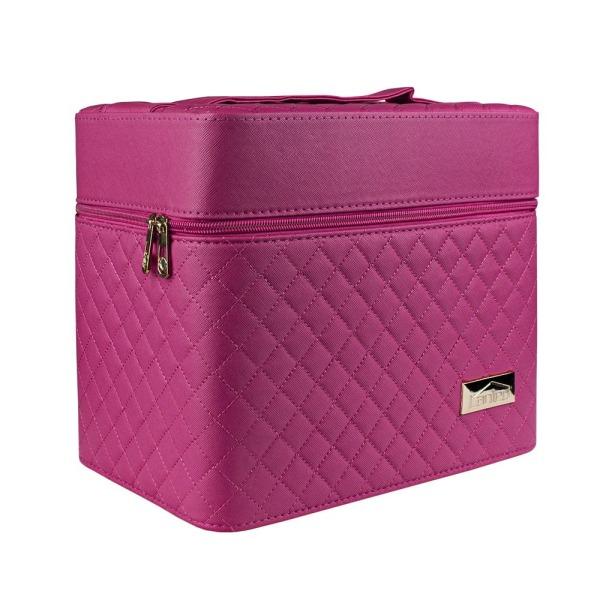 Makeup-taske med Spejl - Mørkelyserød Dark pink
