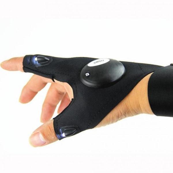 Handske med ficklampa (Höger hand) Black Höger hand