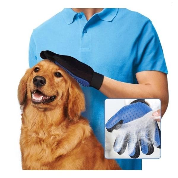 Borsthandske för Husdjur - Tar bort lös päls och bakterier Blå