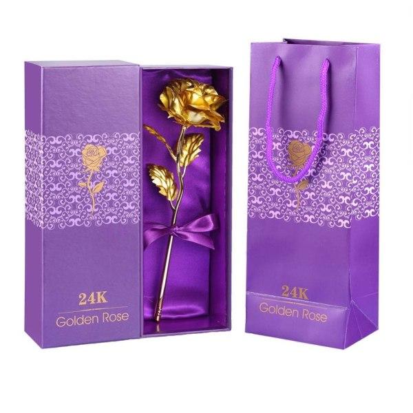 Guldfärgad Ros med Presentbox Guld