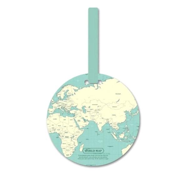 Bagagetag, verdenskort - Lyseblå Blue