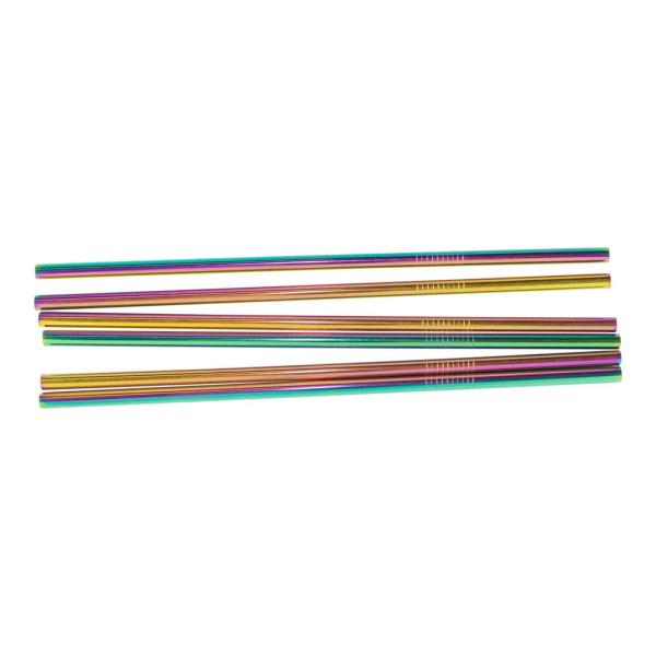 6x Suora Metallipillit - Sateenkaari Multicolor