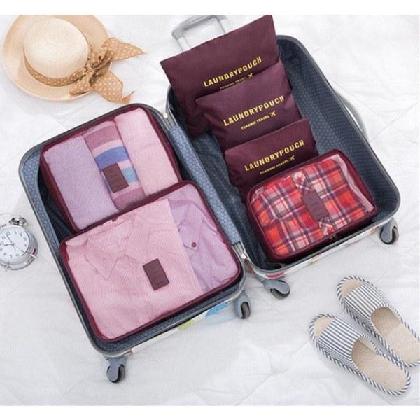 Organiseringsset för Resväskor - Ljusrosa Rosa