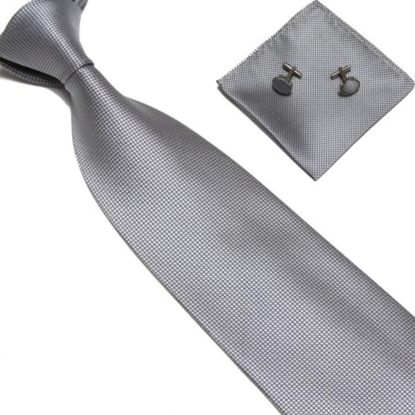 Kostume Tilbehør | Slips + Lommetørklæde + Manchetknapper - Grå Grey one size