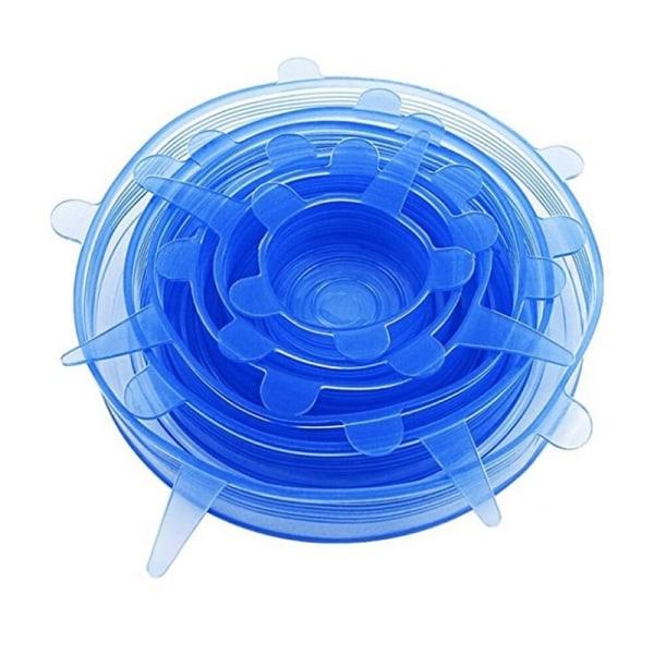 6x Blå silikonelåg Blue