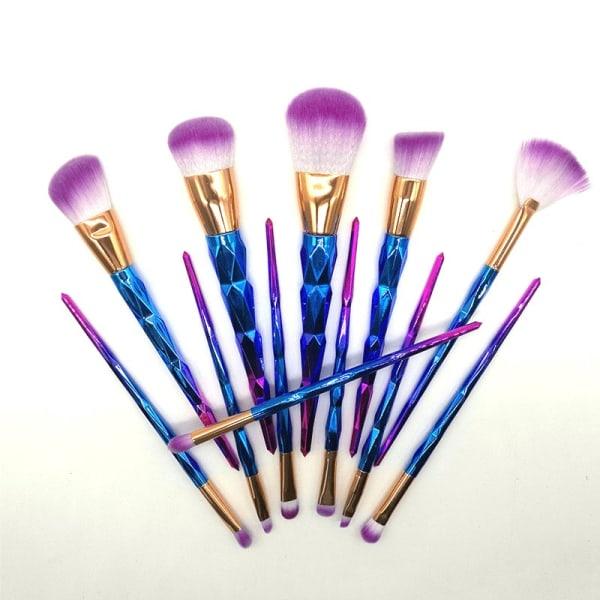 Makeup-børstesæt, 12 børster - Trefarvet ombré Multicolor