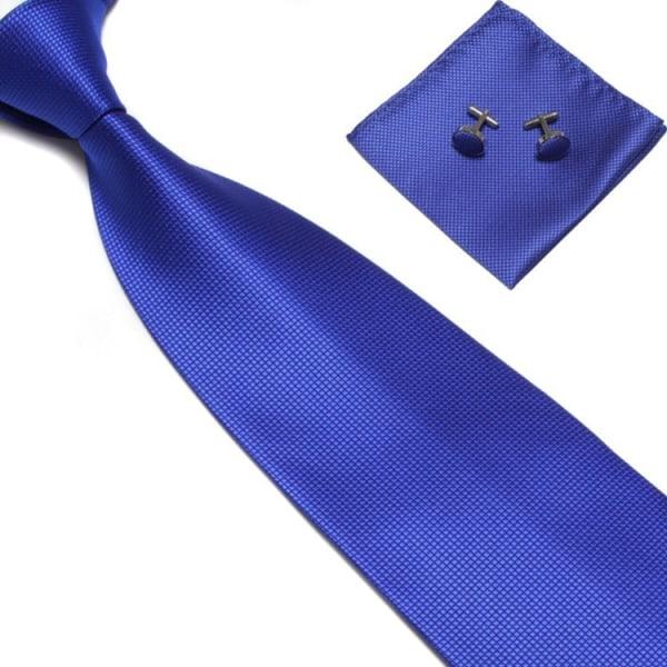 Kostume Tilbehør | Slips + Lommetørklæde + Manchetknapper - Blå Dark blue one size