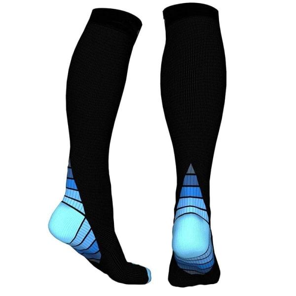 Knähöga Kompressionsstrumpor för Löpning & Sport - Blå Blue S
