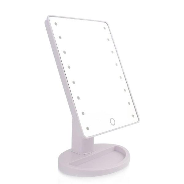 Portabel Roterbar LED Sminkspegel, Batteri & USB driven - Vit Vit
