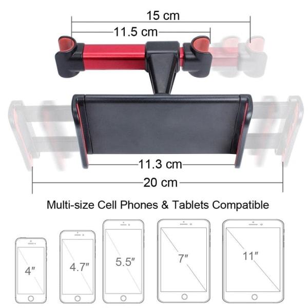 Universal Mobilhållare för Nackstöd i Bilen Svart
