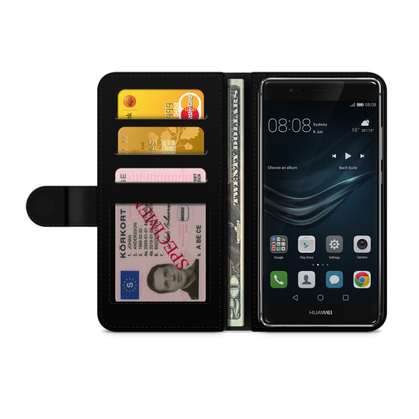 Bjornberry Plånboksfodral Huawei P9 Lite - Blå Vintage