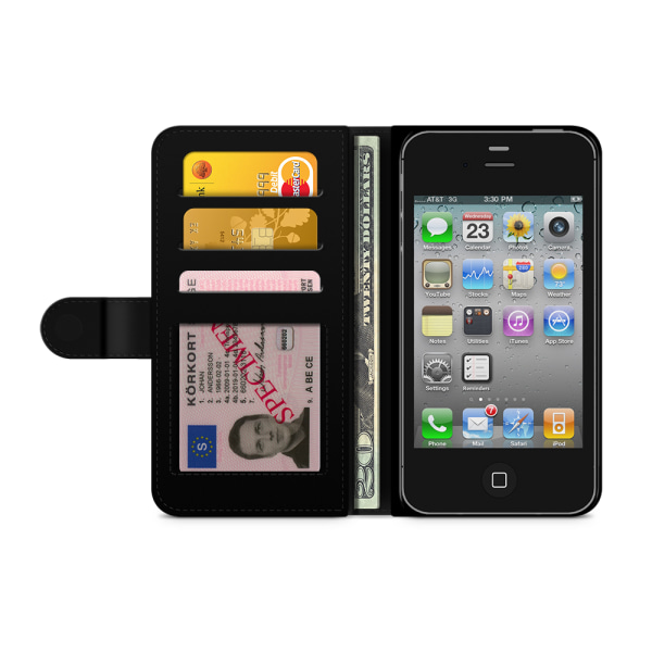 Bjornberry Plånboksfodral iPhone 4/4s - Röd Rhombus