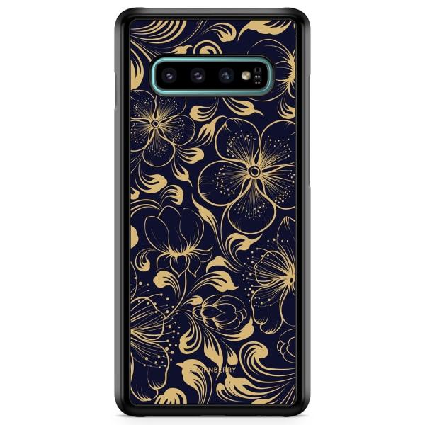 Bjornberry Skal Samsung Galaxy S10 - Mörkblå Blommor