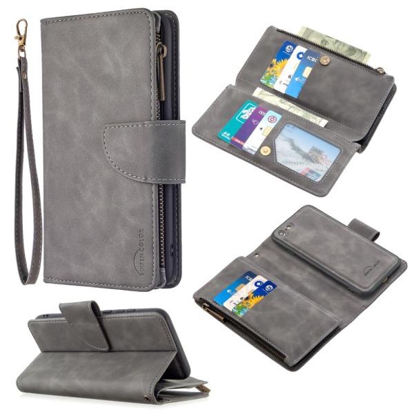 Zipper Magnet Leather Wallet iPhone 7/8/SE 2020 Grå