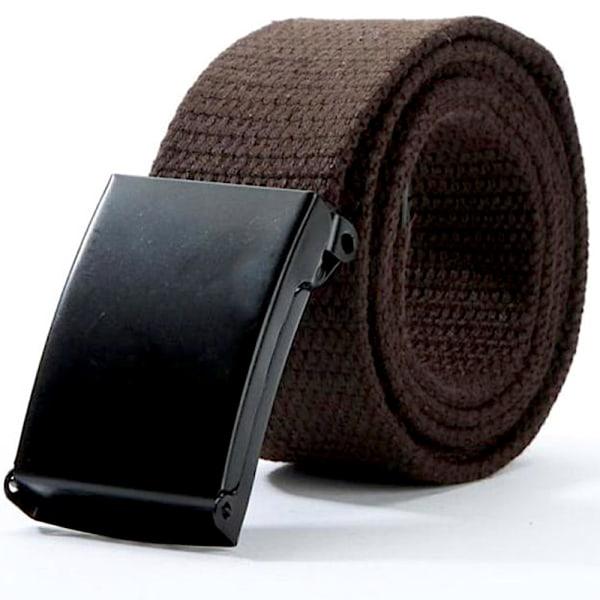 25 bälte i canvas tyg svart eller silver spänne justerbar längd Brunt tyg