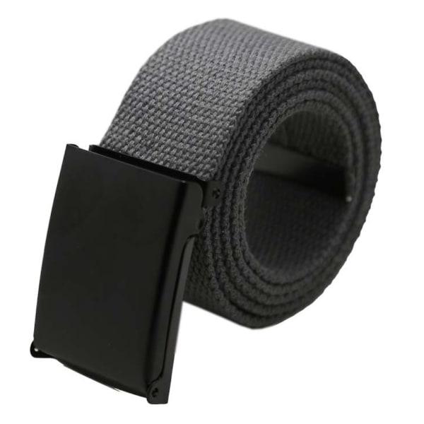 25 bälte i canvas tyg svart eller silver spänne justerbar längd Mörkgrått tyg