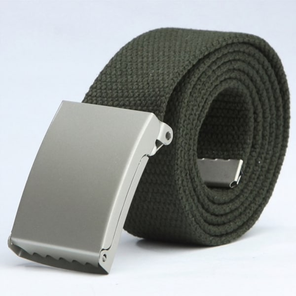 25 bälte i canvas tyg svart eller silver spänne justerbar längd Mossgrönt tyg