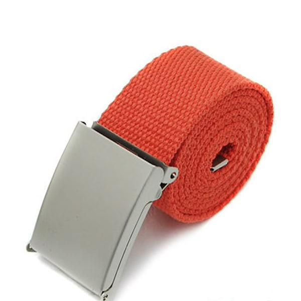 25 bälte i canvas tyg svart eller silver spänne justerbar längd Orangt tyg