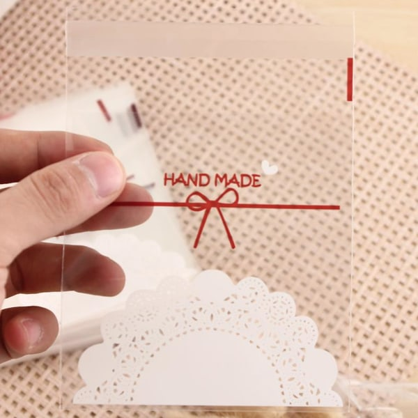 50-pack påse text handmade present handgjord gå bort gåva Genomskinlig och färg