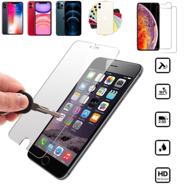 2st skärmskydd åt iPhone modeller 6/7/8/X/XS/11/12/SE pro/max - transparent Iphone 8