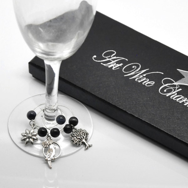 6 pack glas markörer, fest kalas dukning glasmarkörer svart, silver