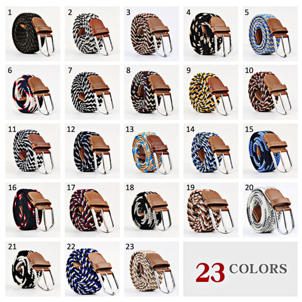 Bälte canvas 23 mönster storlek W26-W36 stretch justerbar längd: 5 Ljusblå / beige