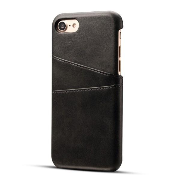 Iphone 7/8 skydd skal fodral skinn för kort visa mastercard - Svart iPhone 7/8