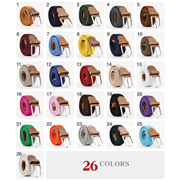 Bälte canvas 26 färger storlek W26 - W36 stretch justerbar längd 15 Vit