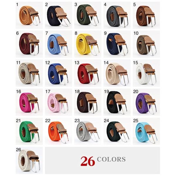 Bälte canvas 26 färger storlek W26 - W36 stretch justerbar längd 18 Brun