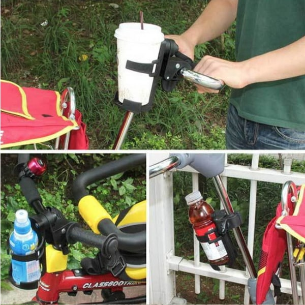 Flaskhållare till vagn/cykel/rullstol/hjälpmedel vällingflaska Svart