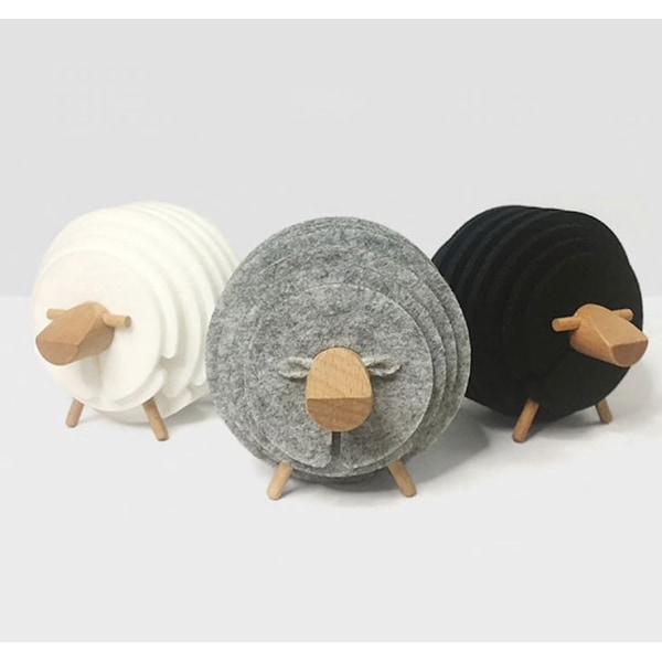Hållare och svarta glasunderlägg, får / lamm Svart