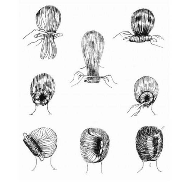 Hjälpverktyg till hårknut, frisyr fest styling svart