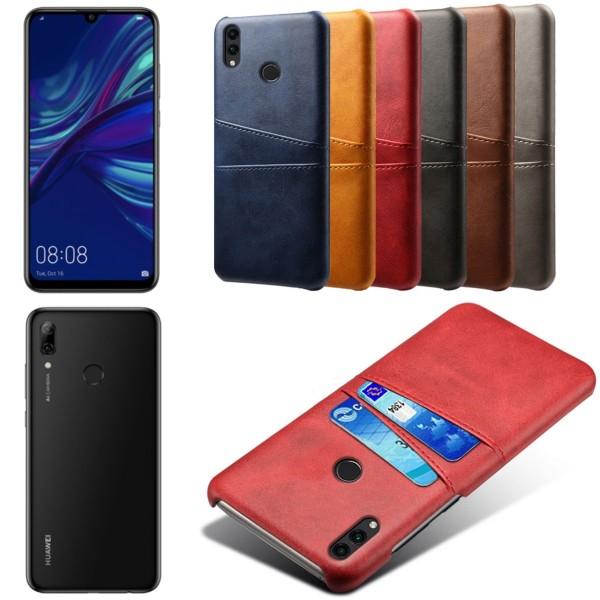 Huawei P smart 2019 skal fodral skydd skinn läder kort visa - Svart P smart 2019