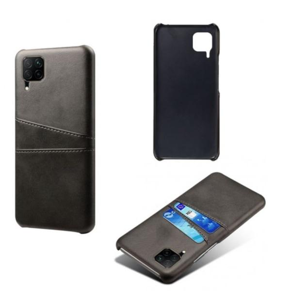 Huawei P40 lite 4G skal fodral skydd skinn läder kort visa - Svart P40 lite 4G