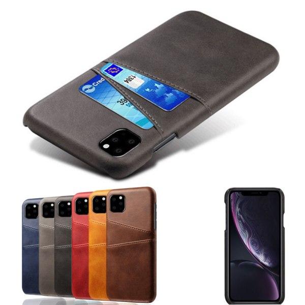 Iphone 11 Pro skydd skal fodral skinn läder kort visa amex - Svart iPhone 11 Pro