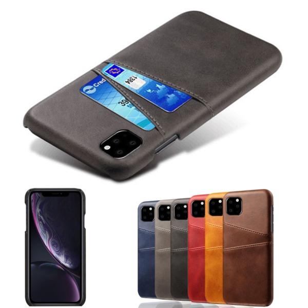Korthållare Iphone 11 skal mobilskal urtag åt laddare hörlurar - Mörkbrun iPhone 11