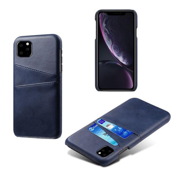 Iphone 11 skydd skal fodral skinn läder kort visa amex - Grå iPhone 11