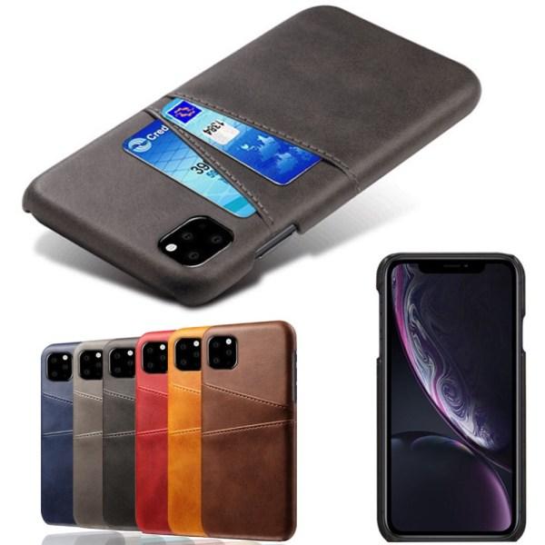 Iphone 12 mini skydd skal fodral skinn läder kort visa amex - Mörkbrun iPhone 12 mini