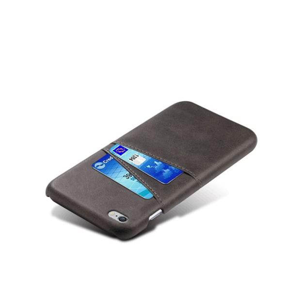 Iphone 6 Plus 6s Plus + skydd skal fodral kort visa mastercard - Mörkbrun iPhone 6+/6s+