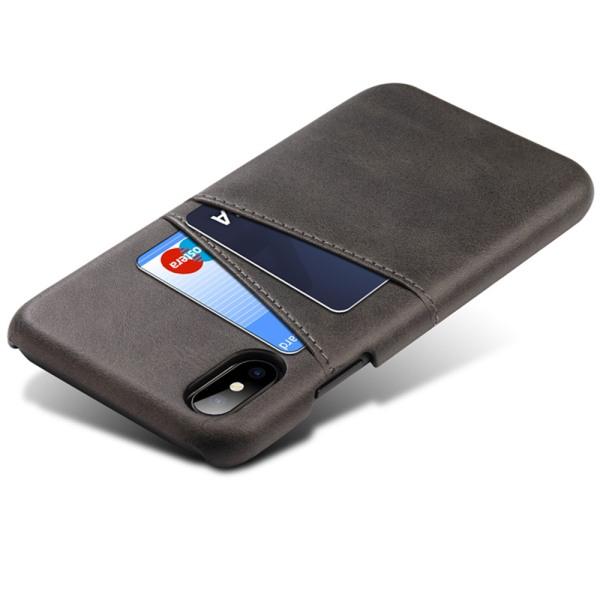 Iphone XS Max skydd skal fodral skinn läder kort visa amex - Svart iPhone XS Max