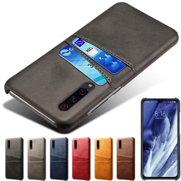 Samsung Galaxy A50 skal fodral skydd skinn kort visa amex - Blå A50