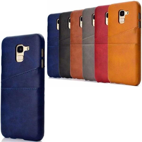 Samsung J6 skal fodral skydd skinn kort visa mastercard amex - Svart J6