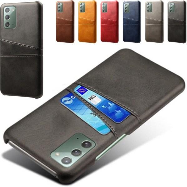 Samsung Note20 skal fodral skydd skinn kort visa mastercard - Svart Note20