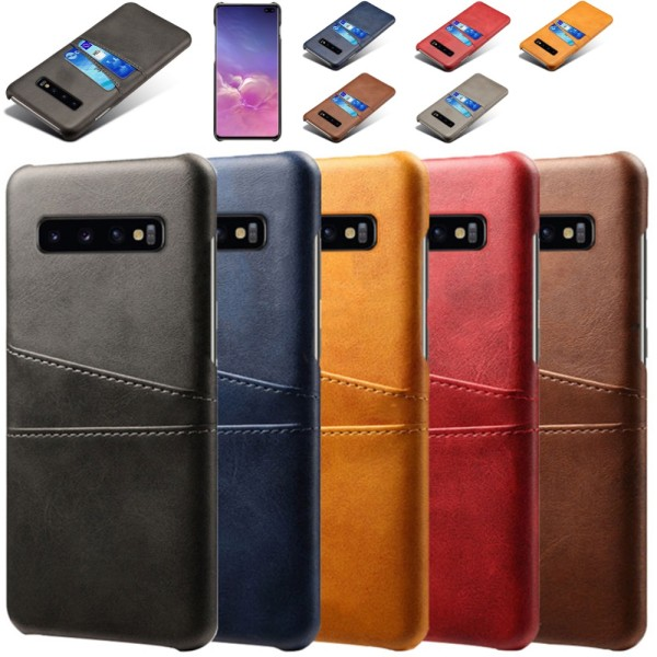 Samsung S10+ skydd skal fodral skinn kort visa amex mastercard - Mörkbrun Samsung Galaxy S10+