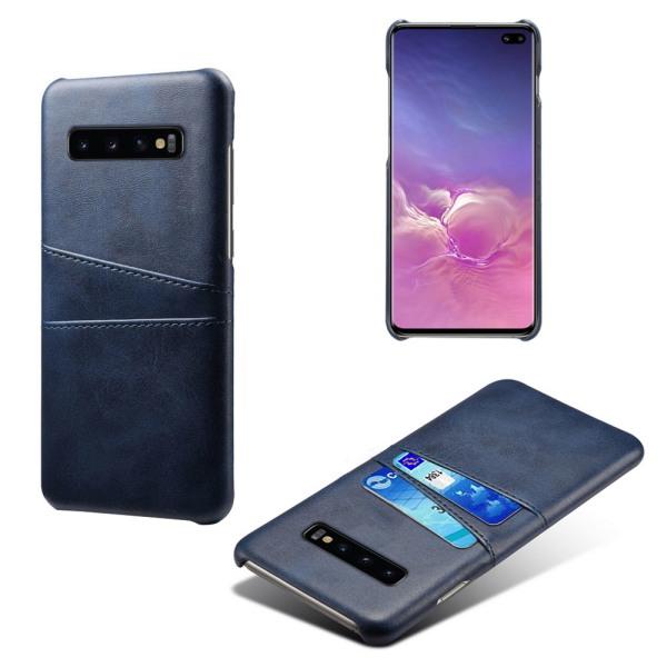 Samsung S10+ skydd skal fodral skinn kort visa amex mastercard - Grå Samsung Galaxy S10+