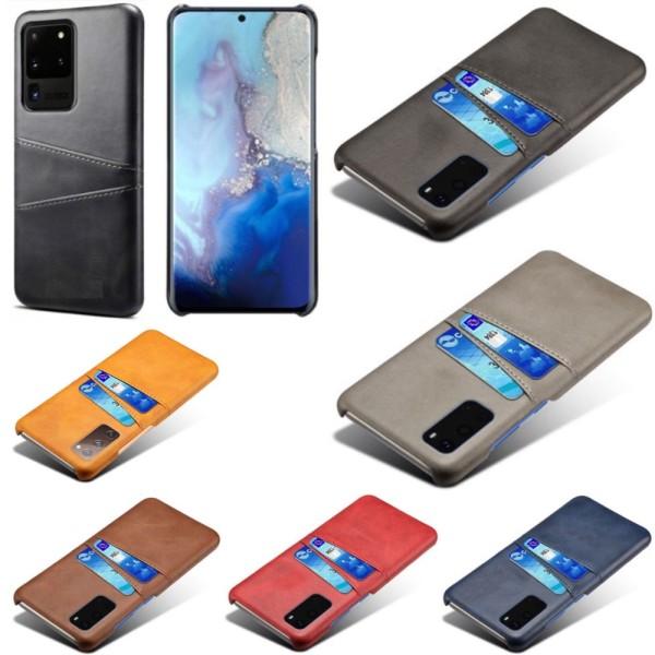 Samsung S20 Ultra skydd skal fodral skinn kort visa mastercard - Röd S20 Ultra