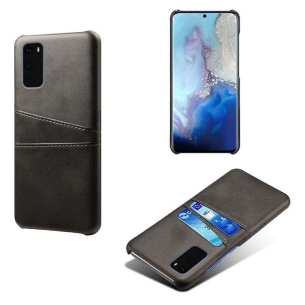 Samsung S20 Ultra skydd skal fodral skinn kort visa mastercard - Brun S20 Ultra